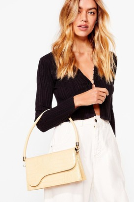Nasty Gal Womens WANT Croc of Our List Shoulder Bag - Beige - ONE SIZE, Beige