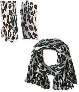La Fiorentina Women's 2 Piece Animal Print Scarf and Glove Set