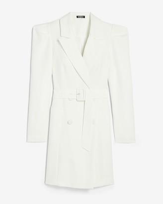 Express Puff Sleeve Belted Blazer Dress