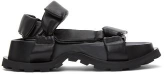 Jil Sander Black Leather Chunky Sole Sandals