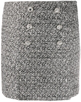 Alessandra Rich Crystal-Button Tweed Skirt