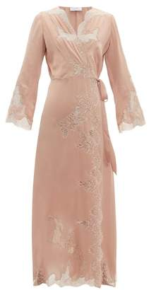 Carine Gilson Lace Trimmed Silk Satin Robe - Womens - Pink