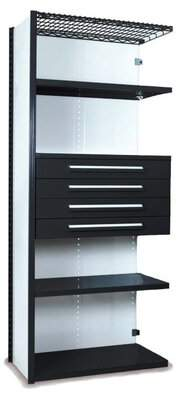 """Equipto 84"""" H x 36"""" W Shelving with Drawers Unit Equipto Finish: Textured Black"""