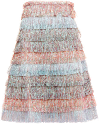 Missoni Strapless Tiered Fringed Cotton-blend Mini Dress