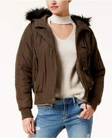 American Rag Juniors' Faux-Fur-Trim Bomber Jacket, Created for Macy's