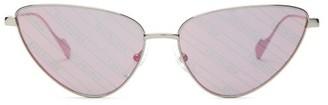 Balenciaga Invisible Reflective Monogram Cat-eye Sunglasses - Pink Silver
