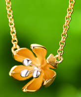 Lotus Fun Women's Necklaces Gold - Goldtone Sterling Silver Lotus Flower Pendent Necklace