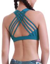 Queenie Ke Women's Medium Support Cross Strappy Wirefree Yoga Sport Bra Size XL Color Teal