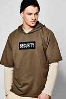 Boohoo Mens Security Over The Head Raw Edge Hoodie in Khaki size L