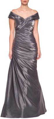 La Femme Ruched Two-Tone Satin Gown