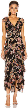 Zimmermann Wavelength Frilled Midi Dress in Black Phoenix | FWRD