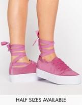 Asos DENVER Velvet Tie Leg Sneakers