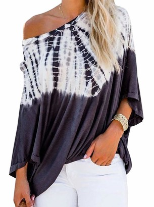 Cyanstyle Womens Summer Loose Flowy 3/4 Sleeve Tops Off Shoulder Tunic Shirt Tie Dye Print Blouses Navy Blue Large