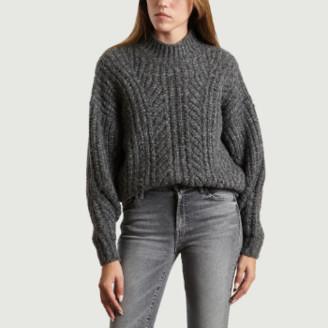 IRO Paris Paris - Grey Wool and Acrylic Venati Col Colant Sweater - s | grey | Wool/Acrylic - Grey/Grey
