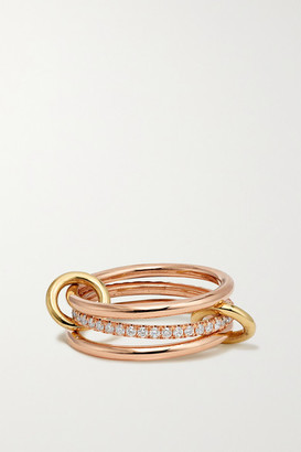 Spinelli Kilcollin Sonny Set Of Three 18-karat Yellow And Rose Gold And Diamond Rings - 3