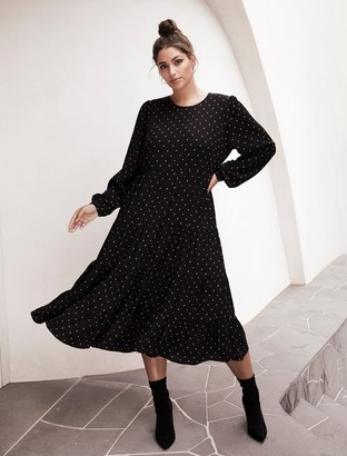 Forever New Betty Curve Long-Sleeve Smock Dress - Black Rustic Spot - 16