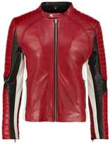 Serge Pariente Leman Leather Jacket Rouge/noir/blanc
