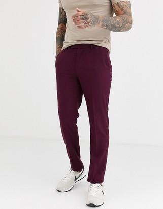 ASOS DESIGN skinny smart trousers in dark burgundy