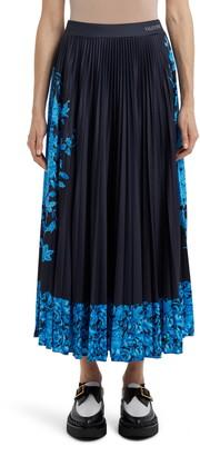 Valentino Delft Print Logo Waist Pleated Maxi Skirt