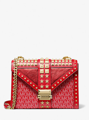 MICHAEL Michael Kors MK Whitney Large Star Embellished Logo and Leather Convertible Shoulder Bag - Bright Red - Michael Kors
