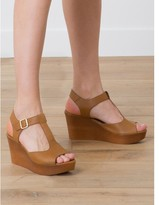 Somewhere T-strap sandals with a wedge heel and in smooth leather, HOMES