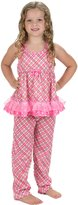 Laura Dare Little Girls Pink Playful Plaid Racerback Pajamas