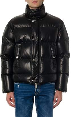 DSQUARED2 Black Leather Embossed Jacket