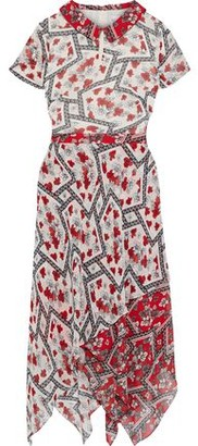 Mikael Aghal Asymmetric Layered Printed Georgette Midi Dress