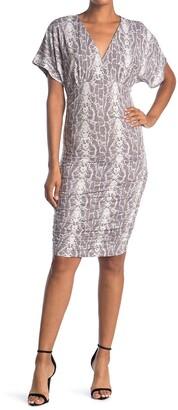 Socialite Dolman Short Sleeve V-Neck Ruched Dress