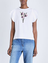 RED Valentino Ruffle-sleeve embroidered cotton-jersey t-shirt