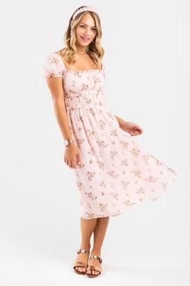 francesca's Emma Floral Midi Dress - Blush