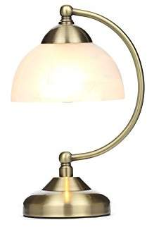 Illuminate Hebi Glass Curved Arm Touch Petite Table Lamp With Frosted Bell Shape Shade, Ivory/Gold