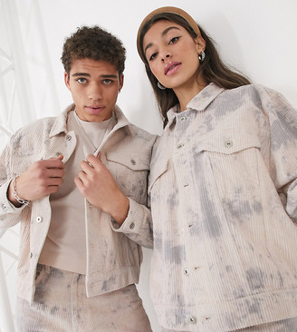 Collusion Unisex bleached cord jacket in gray