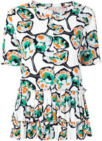 Marni floral pleated top - women - Cotton - 40