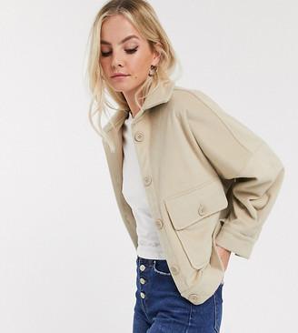 Only Petite oversized trucker jacket in cream