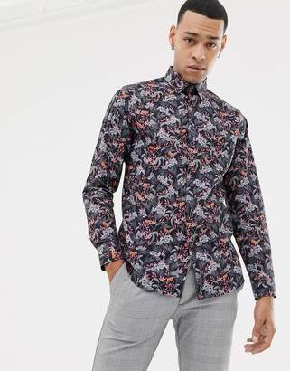 Ted Baker shirt with floral print-Navy