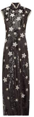 Andrew Gn Beaded Star Sequinned Silk Blend Gown - Womens - Black Silver