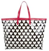 Moschino Leather-Trimmed Heart Tote