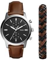 Fossil Men's Townsman Leather Watch, 44m & Bracelet Set