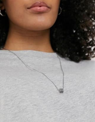 Calvin Klein Calvin Kein grey crystal cubed necklace in silver