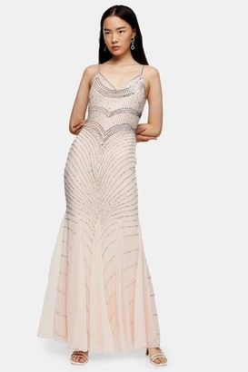 Womens **Nude Embellished Long Maxi Dress By Lace & Beads - Nude