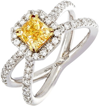 Bony Levy Yellow Diamond Cushion Crisscross Ring