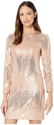 Vince Camuto Sequin Long Sleeve T-Body Dress (Blush) Women's Dress