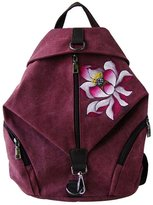 GESIMEI Women's Daypack Ethnic Painted Flower Pattern Canvas Travel Backpack
