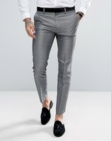 Asos Skinny Tuxedo Suit Pants In Silver Leopard Print