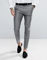 Asos Steel Skinny Tuxedo Suit Trousers In Silver Leopard Print