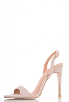 Quiz Nude Faux Suede Sling Back Barely There Sandals