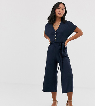 New Look Petite button down ribbed jumpsuit in navy