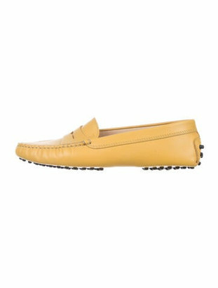 Tod's Signature Logo Leather Loafers Yellow