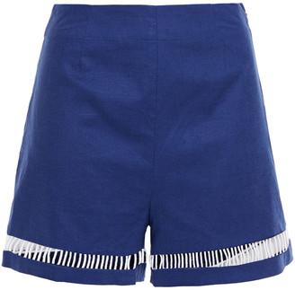 STAUD Moth Cutout Stretch-linen And Cotton-blend Shorts